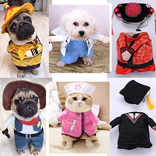 Funny Fashion Pet Dog Cat Upright Clothes Costume Dress Doctor Nurse Princess Cowboy Bachelor Emperor Suit Halloween Party Cosplay Costumes