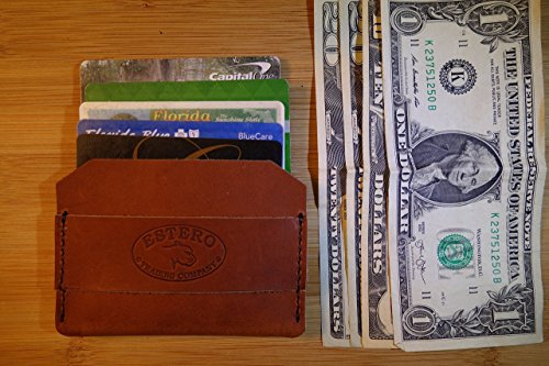 Father's Day Gifts Leather Cash Strap (RUSSET) Leather Money Clip- Wallet-Card Case. (Russet Leather Strap)