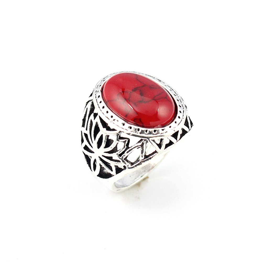 silverjewelgems RED COPPER TURQUOISE FASHION JEWELRY .925 SILVER PLATED RING 9 S23018