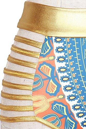 Bikini Mujer Push Up IHRKleid® Traje de Baño de Africana Tribal Cintura Metálica Azul