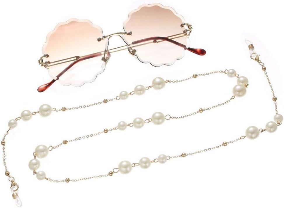 Awanka Collier de lunettes en perles dor/ées pour femme