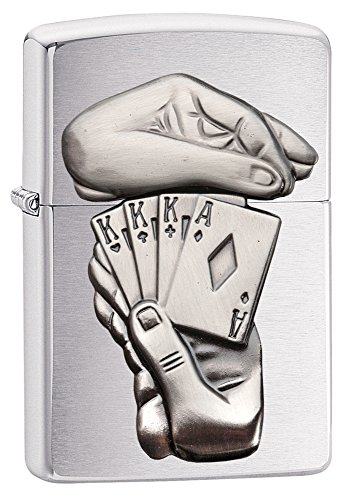 Zippo Full House Emblem Pocket Lighter, Brushed Chrome, Brushed Chrome Full House