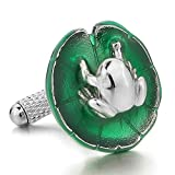 INBLUE Men's 2 PCS Rhodium Plated Cufflinks Green Silver Tone Lotus Leaf Frog