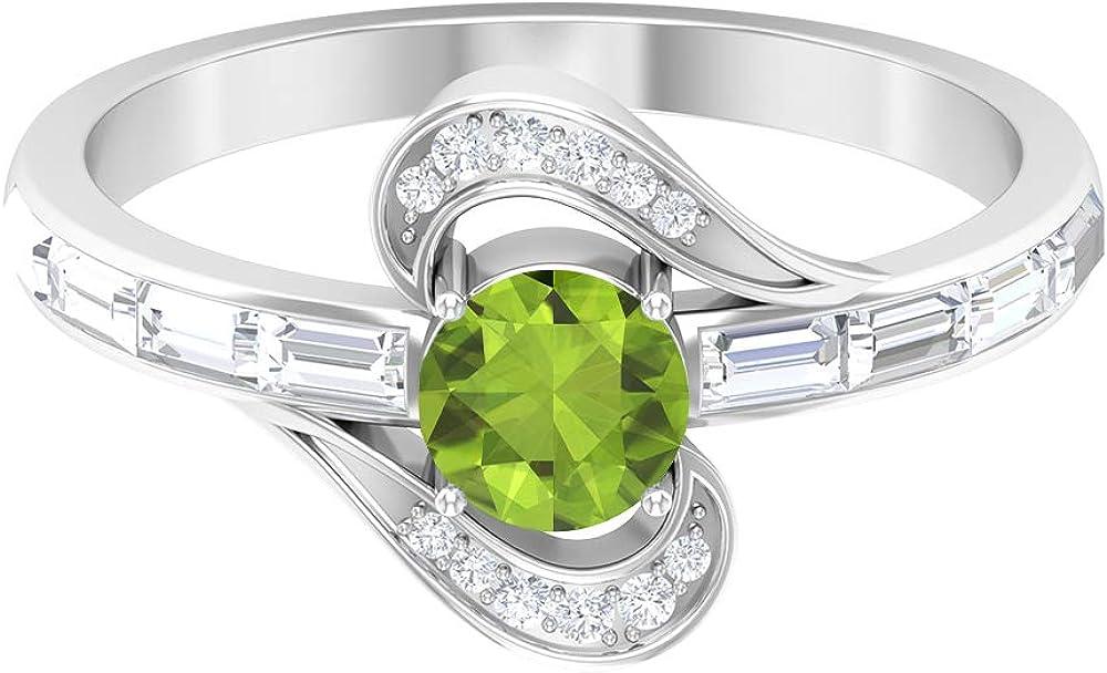 Anillo de compromiso de peridoto, piedras preciosas redondas de 0,96 quilates, anillo de promesa de solitario de diamante HI-SI de 5 mm, anillo de diamante baguette, 10K Oro