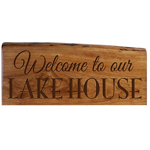 Family Gift Custom Welcome Solid Cherry Wood Live Edge Sign Engraved Wedding Gift Ideas By Dayspring Milestones (Welcome to Our Lake House)