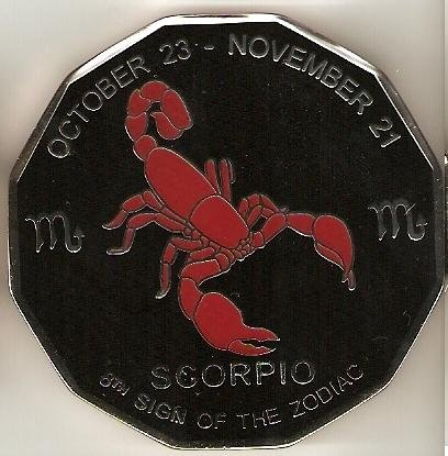Black Scorpio Commerative Poker Guard Coin Large & Heavy by Poker Weight