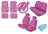 zebra pink car accessories - New Premium Grade 15 Pieces Safari PINK Zebra Print Low Back Front Car Truck Seat with Head Rest Covers Rear Bench Cover and 4 Pieces Floor Mats Set Made By Unique Imports - Padded Comfort & Bonus WashMitt