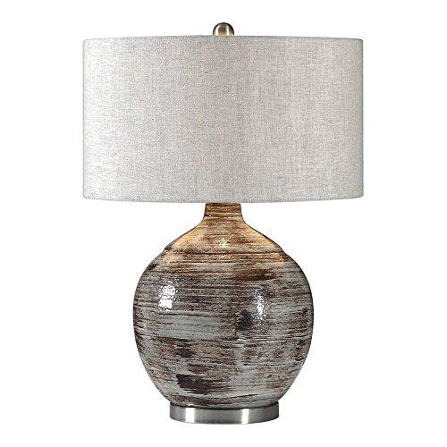 - Uttermost Tamula Distressed Blue-Gray Ceramic Table Lamp
