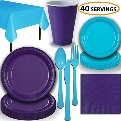 Disposable Party Supplies, Serves 40 – Purple and Turquoise – Large and Small Paper Plates, 12 oz Plastic Cups…