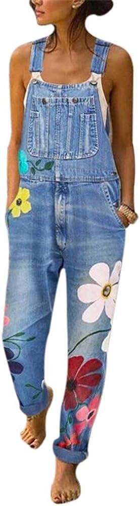 Heflashor Jeanslatzhose Damen Latzhose Jeans Hose Vintage Loose Fit Hoseanzug Overall Blumen Denim Playsuit Romper Baggy Boyfriend Stylisch Jumpsuit H/üftjeans