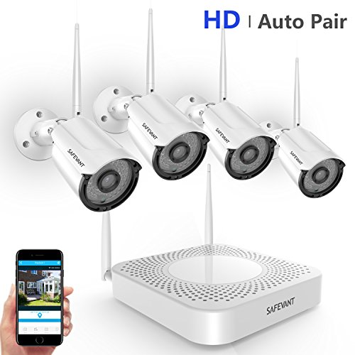 [2019 Update] Security Camera System Wireless,Safevant 4CH NVR Wireless Security Camera System(NO Hard Drive),4PCS 720P Indoor/Outdoor Wireless Security Cameras,Auto Pair,No Monthly Fee