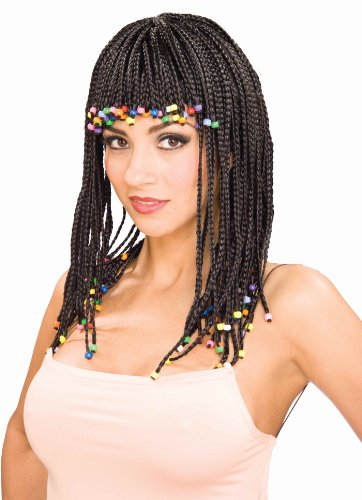 Forum Novelties Women's Beaded Corn Row Costume Wig, Black, One -