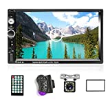 """AMPrime Double Din Car Stereo Radio with Bluetooth 7"""" Touch Screen FM Receiver MP5 Car Player Support Mirror Link for Phone + Backup Camera /Steering Wheel Control+Remote Control + Mounting Kit"""