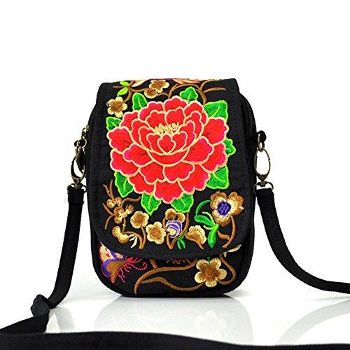 Femmes Rouge Sacs Portable Brodé à Monnaie Eagsouni® Porte Mini Bonbon Téléphone Main Pivoine Fleur Sacs Bandoulières Z8n54X