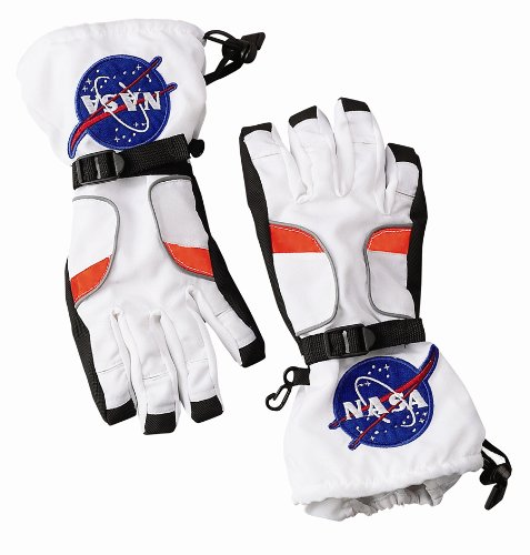 Nasa Costumes Adults (Aeromax Astronaut Gloves, size Large, White, with NASA patches)