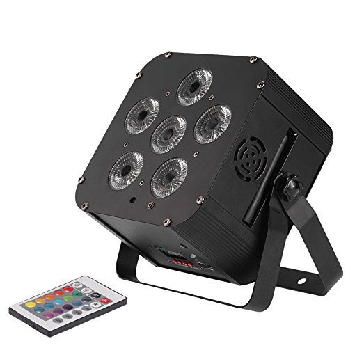 Lixada 108W LED RGBWAP 6/10 Channel Stage Light PAR Light Build-in Wireless DMX Receiver Rechargeable Battery with Remote Controller Support Sound Activation by Lixada