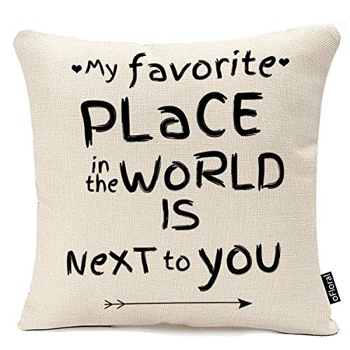 oFloral Decorative Accent Throw Pillow Cushion Inspirational Sweet Love Quote Print Pillow Case Cotton Linen Pillow Cushion Cover 18 x 18 Inch