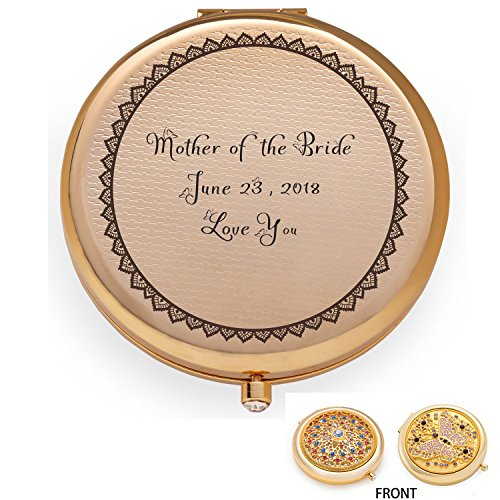 Personalized Engraved Custom Compact Purse Pocket Mirror, Unique Wedding Birthday Anniversary Gift, Mother of the Bride Groom