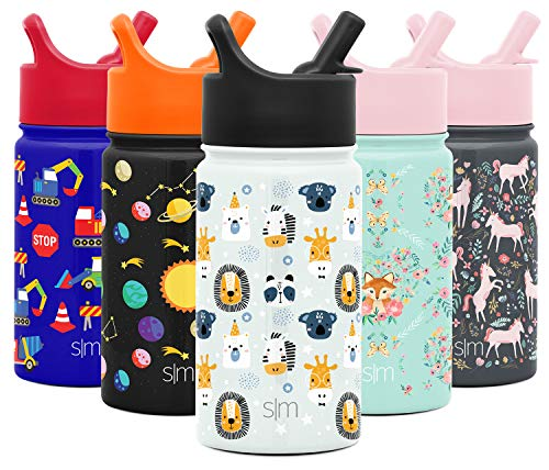 Simple Modern 14oz Summit Kids Water Bottle Thermos with Straw Lid - Dishwasher Safe Vacuum Insulated Double Wall Tumbler Travel Cup 18/8 Stainless Steel -Wild Zoo