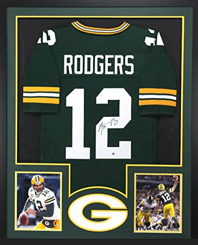 Aaron Rodgers Autographed/Signed Green Bay Packers Framed Green Custom Jersey
