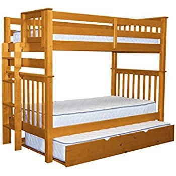 Bedz King Tall Bunk Beds Twin Over Mission Style With End Ladder And A