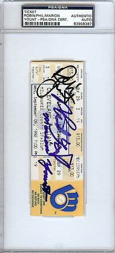- Robin Yount & Family Signed 3000 Hit Ticket Milwaukee Brewers - Certified Genuine Autograph By PSA/DNA - Autographed MLB Signature