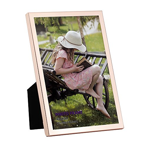 4x6 Picture Frame Made of Metal (Steel) and High Definition Glass for Table Top Display Photo Frame Rose Gold