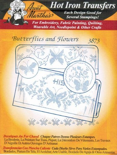 Butterflies and Flowers Aunt Martha's Hot Iron on Cross-stitch / Embroidery Transfer