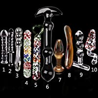 10 PCS Glass Crystal Dildo Anal Butt Plug 10 Sizes Set Sex Toy