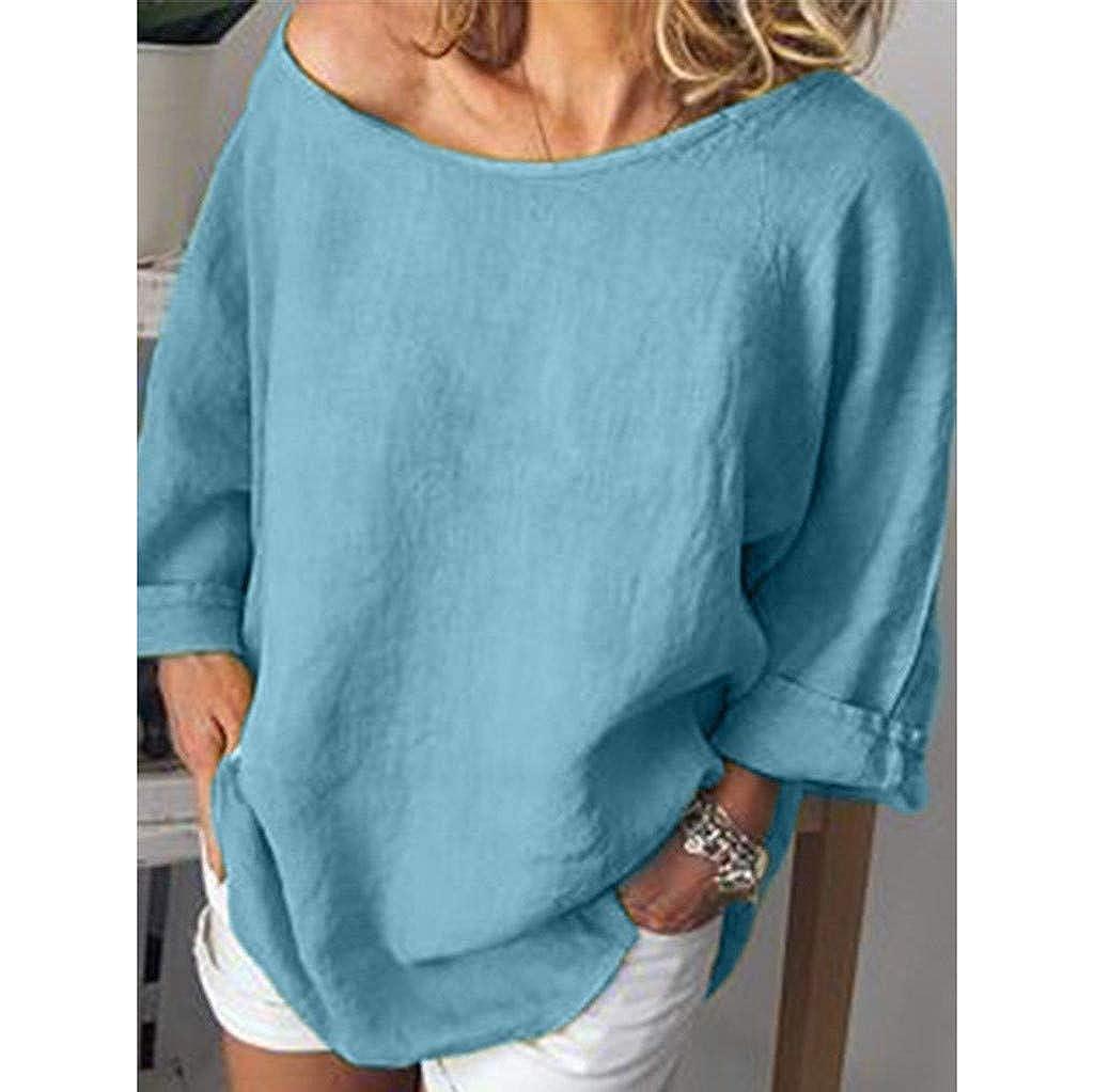86c36201df Amazon.com: Sanyyanlsy Women's Linen Plus Size Solid Color Blouse Shirt  Loose Off-Shoulder O-Neck Tank Tops T-Shirt Casual Vest: Clothing