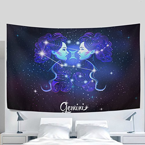Home Decor Constellation Zodiac Sign Gemini Tapestries Hanging Bedroom Living Room Decorations Polyester Tapestry Wall Art 60X51 Inches
