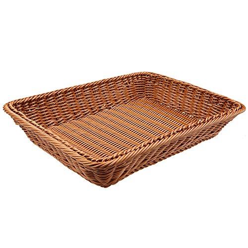 Rattan Bread Basket, WCIC Rectangle Food Fruit Handmade Baskets Food Serving Baskets Display 13.78