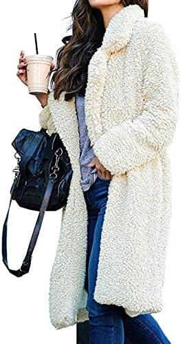 SHOUBANG Cappotto Cappotto di Pelliccia da Donna Invernale Taglie Forti Giacca di Peluche Lunga Calda Spessa Pelliccia Sintetica Cappotto di Peluche Bianco Peluche Khaki-L