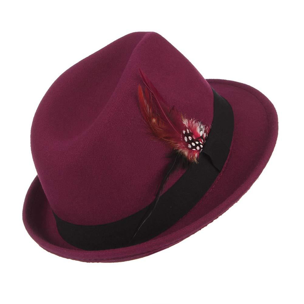SANOMY Men Classical Jazz Cap Fedoras Feather Decor Felt Trilby Casual Church Caps
