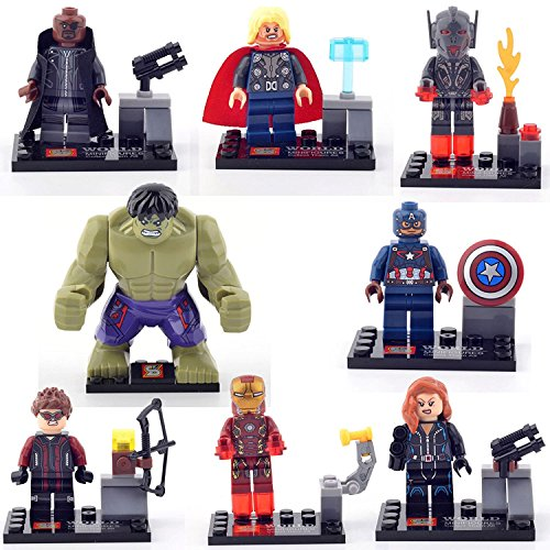 JSM THOR IRON MAN HULK NICK AVENGERS Age Of Ultron 8 Minifigures Building Brick ()