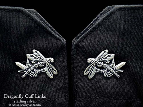 Dragonfly Cuff Links in Solid Sterling Silver Hand Carved & Cast by Paxton by Paxton Jewelry