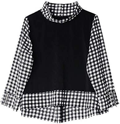 XCXDX Top De Gasa A Cuadros En Blanco Y Negro, Camisa De Costura para Señoras, Ropa De Trabajo Básica: Amazon.es: Deportes y aire libre
