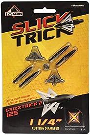 """Slick Trick STGT2-125 Grizztrick 2 125 GR Broadhead (Pack of 4), 1-1/4"""","""