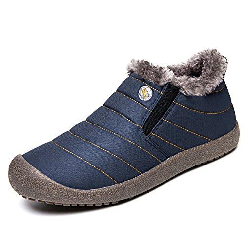 Jackshibo Dames Heren Bont Gevoerde Slip Op Snowboots Outdoor Waterdichte Winterlaarzen Blauw