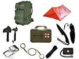 Ultimate Arms Gear Level 3 Assault MOLLE OD Olive Drab Green Backpack Kit; Signal Mirror, Polarshield Blanket, Knife Fire Starter, Wire Saw, Axe, 50' Foot Paracord, Camping Tube Tent & First Aid Kit