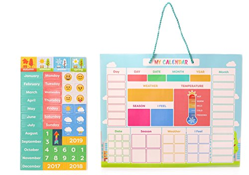 My First Daily Magnetic Calendar | Weather Station for Kids | Moods and Emotions | Usable on Wall or Fridge