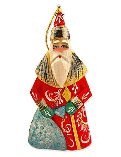Religious Gifts Russian Wooden Santa Claus Father Frost Ornament Hand Painted 4 3/4 -