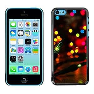 Qstar Arte & diseño plástico duro Fundas Cover Cubre Hard Case Cover para Apple iPhone 5C ( Party City Lights Colorful Bright Lantern Night)
