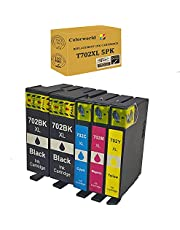 ColorWorld Remanufactured Ink Cartridge Replacement for 702XL T702XL 702 T702 to use with Workforce Pro WF-3720 WF-3730 WF-3733 Printer 5-Pack(2 Large Black, 1 Cyan, 1 Magenta, 1 Yellow)