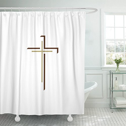TOMPOP Shower Curtain Catholic Church Christian Cross Christ Faith Waterproof Polyester Fabric 72 x 72 inches Set with Hooks by TOMPOP