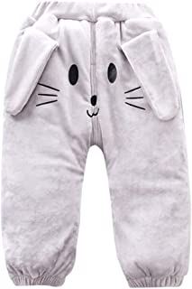 Baby Girl Winter Pants,Zerototens Children Baby Boys Girls Solid Cartoon Rabbit Thick Warm Padded Pants Fleece Trousers Girls Athletic Pants Leggings Casual Outfit 0-3 Years Old