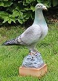 JS GartenDeko Deko Figur Taube stehend auf Sockel H 36 cm x L 25 cm Vogelfigur aus Kunstharz
