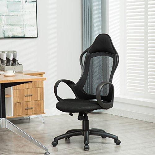 Sunmae High Back Mesh Office Chair, Ergonomic Executive Chair, Adjustable Computer Desk Swivel Chair - Black - Executive Black Mesh Ergonomic Chair