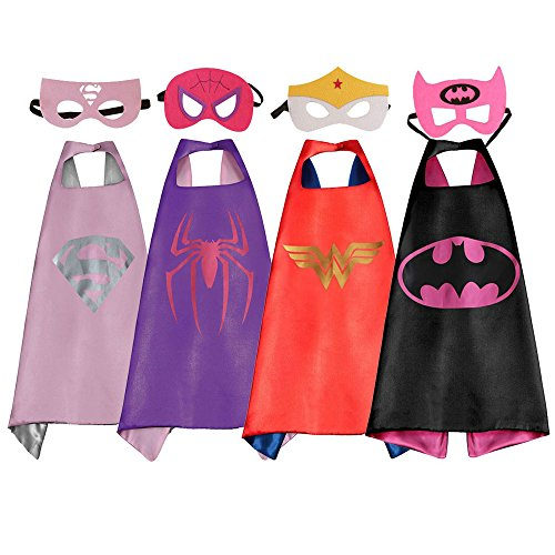 4Pk Marvel Costumes for Kids, DC Superhero Cape and Mask for Girls