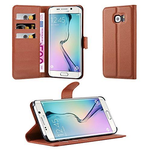 Cadorabo - Funda Samsung Galaxy S6 EDGE PLUS Book Style de Cuero Sintético en Diseño Libro - Etui Case Cover Carcasa Caja Protección (con función de suporte y tarjetero) en MARRÓN-CHOCOLATE MARRÓN-CHOCOLATE